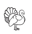thanksgiving day turkey hand drawn sketch icon vector image