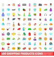 100 shopping products icons set cartoon style vector image vector image