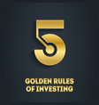 5 golden rules investing cover for video vector image