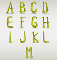Alphabet folded green paper template