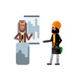 arabic speaker doing business presentation vector image vector image