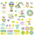 Baby Boy Dog Scrapbook Set Baby Tags Baby Labels vector image vector image