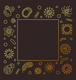 bacterial cells square golden frame vector image vector image
