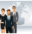 business people teamwork globe international vector image