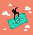 Businessman standing on a flying money vector image vector image