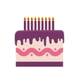 cake candle party cream bakery birthday icon vector image vector image