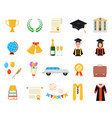 cartoon color graduation day signs icon set vector image