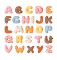 cartoon donut hand drawn font vector image vector image