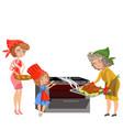 cartoon happy grandmother putting chicken in oven vector image vector image