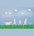 children running field vector image