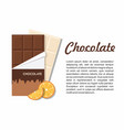 chocolate bar package with orange on white vector image vector image