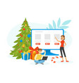 christmas and happy new year online shopping girl vector image