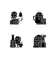 christmas holiday black glyph icons set on white vector image