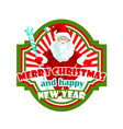 christmas holiday label design with santa claus vector image