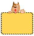 cute alert dog hold empty board vector image vector image