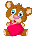 cute little brown bear cartoon holding heart love vector image vector image