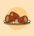 dish with chicken legs fast food vector image