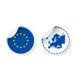 europe sticker with flag and map european union vector image vector image