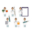 flat set of woman doctor with huge medical objects vector image vector image
