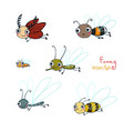 funny cartoon insect cartoon set vector image