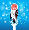 funny Christmas owl on a snowy background vector image vector image