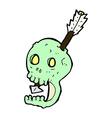 funny comic cartoon skull and arrow vector image vector image