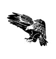 grunge silhouette flying eagle vector image