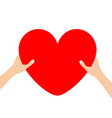 hands arms holding red heart icon shape sign vector image vector image