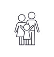 happy family line icon concept happy family vector image vector image