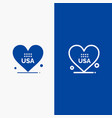 heart love american usa line and glyph solid icon vector image vector image