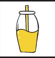 jar with drinking straw doodle icon vector image vector image