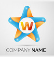 letter w logo symbol in the colorful star on grey vector image vector image