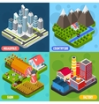 Locations 4 isometric Icons Square vector image vector image