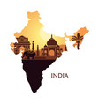 map india with a stylized landscape taj vector image vector image