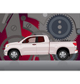 Pick-up truck with background vector image vector image