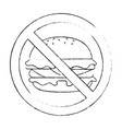 prohibited burger fast food icon vector image