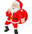 santa claus carrying a bag presents vector image vector image