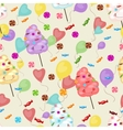 Seamless pattern of sweets cotton candy vector image vector image