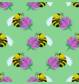 seamless pattern with bees on flowers vector image vector image