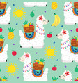 seamless pattern with llama and fruits vector image vector image