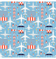 seamless pattern with passenger airplanes 07 vector image