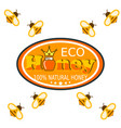 set bee logo labels for honey products organic vector image vector image