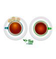 set realistic tea top view vector image