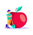smiling garderner in front huge tasty red apple vector image vector image