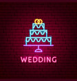 wedding neon label vector image vector image