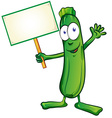 zucchini cartoon with signboard vector image vector image
