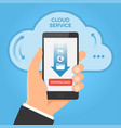 downloading from cloud concept hand holding vector image