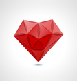 Abstract red geometric crystal heart vector image