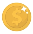 Coin icon flat design Gold coins cent isolated vector image