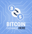 bitcoin exchange here image on chipset vector image vector image